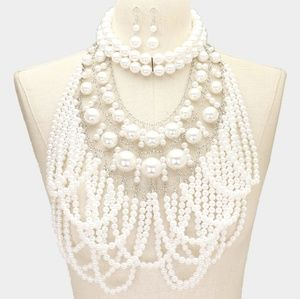 Jewelry - White and Silver Layered Drape Pearl Necklace Set